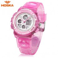 image of HOSKA H003S DIGITAL QUARTZ CHILDREN SPORT WATCH CHRONOGRAPH CALENDAR ALARM BACKLIGHT 5ATM WRISTWATCH (PINK) 0