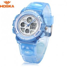 image of HOSKA H003S DIGITAL QUARTZ CHILDREN SPORT WATCH CHRONOGRAPH CALENDAR ALARM BACKLIGHT 5ATM WRISTWATCH (BLUE) 0