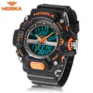 image of HOSKA HD032B CHILDREN DIGITAL QUARTZ WATCH 5ATM CHRONOGRAPH ALARM CALENDAR WRISTWATCH (BLACK AND ORANGE) 0
