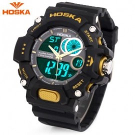 image of HOSKA HD031B CHILDREN DUAL MOVT WATCH DATE DAY DISPLAY ALARM CHRONOGRAPH WRISTWATCH (YELLOW AND BLACK) 0