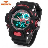image of HOSKA HD031B CHILDREN DUAL MOVT WATCH DATE DAY DISPLAY ALARM CHRONOGRAPH WRISTWATCH (RED WITH BLACK) 0