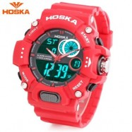 image of HOSKA HD031B CHILDREN DUAL MOVT WATCH DATE DAY DISPLAY ALARM CHRONOGRAPH WRISTWATCH (RED) 0