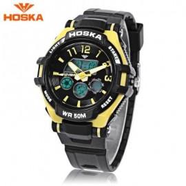 image of HOSKA HD028S CHILDREN DUAL MOVT WATCH CALENDAR 5ATM 24 HOUR DISPLAY LED DIGITAL WRISTWATCH (YELLOW AND BLACK) 0