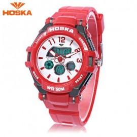 image of HOSKA HD028S CHILDREN DUAL MOVT WATCH CALENDAR 5ATM 24 HOUR DISPLAY LED DIGITAL WRISTWATCH (RED) 0