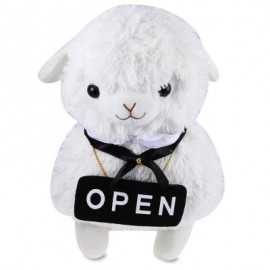 image of 42CM ALPACA PLUSH STUFFED TOY LOVELY ANIMAL PLUSH TOY ALPACASSO CAFE HOUSE SERVER (WHITE) -