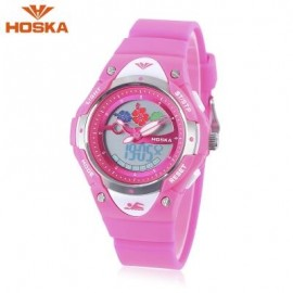 image of HOSKA HD023S DUAL MOVT CHILDREN QUARTZ DIGITAL WATCH LUMINOUS DATE DAY DISPLAY 5ATM WRISTWATCH (DEEP PINK) 0