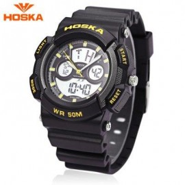 image of HOSKA HD004B DIGITAL QUARTZ CHILDREN SPORT WATCH CHRONOGRAPH CALENDAR ALARM BACKLIGHT 5ATM WRISTWATCH (YELLOW AND BLACK) 0