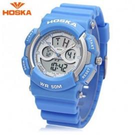 image of HOSKA HD004B DIGITAL QUARTZ CHILDREN SPORT WATCH CHRONOGRAPH CALENDAR ALARM BACKLIGHT 5ATM WRISTWATCH (BLUE) 0