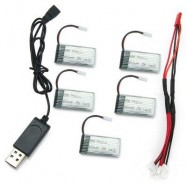 image of UPGRADED BATTERY SET WITH USB CABLE / 2 TO 5 CABLE FOR MOULD KING 33041 33041A (COLORMIX) -