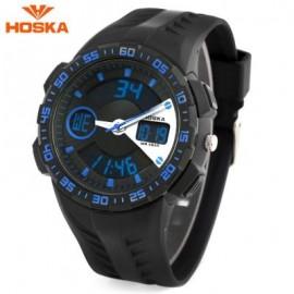 image of HOSKA HD029B CHILDREN DUAL MOVT WATCH 5ATM CALENDAR CHRONOGRAPH ALARM WRISTWATCH (BLUE AND BLACK) 0