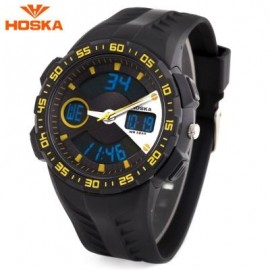 image of HOSKA HD029B CHILDREN DUAL MOVT WATCH 5ATM CALENDAR CHRONOGRAPH ALARM WRISTWATCH (YELLOW AND BLACK) 0