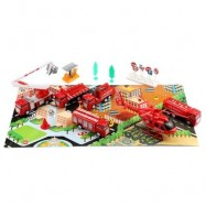 image of XIONGFENGDA KIDS ALLOY 1:60 SCALE SIMULATION FIRE RESCUE SET CAR MODEL TOY CHRISTMAS GIFT (RED) -
