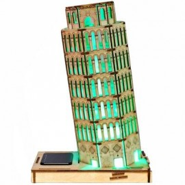 image of COLORED DRAWING DIY VENEER LEANING TOWER WITH AUTOMATIC SOLAR LED LIGHT SENSATION ROMANTIC GIFT FOR VALENTINE'S DAY (AS THE PICTURE) -