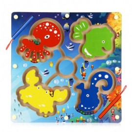 image of WOODEN OCEAN MAGNETIC PEN LABYRINTH PUZZLE TOY FOR KIDS (COLORMIX) One Size