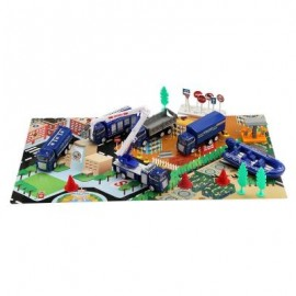 image of XIONGFENGDA ALLOY 1:60 SCALE POLICE DEPARTMENT SET FOR KIDS (BLUE) -