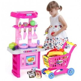 image of LIGHT EFFECTS HOUSE KITCHEN TOY SUIT (PINK) 0