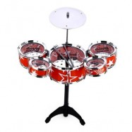 image of WANYI KIDS DELUXE JAZZ DRUMS KIT MUSICAL INSTRUMENT TOY WITH CYMBAL STOOL CHRISTMAS BIRTHDAY GIFT (RED) -