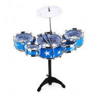 image of WANYI KIDS DELUXE JAZZ DRUMS KIT MUSICAL INSTRUMENT TOY WITH CYMBAL STOOL CHRISTMAS BIRTHDAY GIFT (BLUE) -