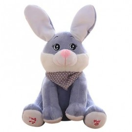 image of SINGING RABBIT SOFT STUFFED PLUSH TOY (GRAY) 0