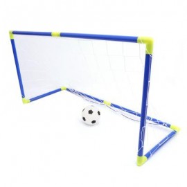 image of ANJANLE KIDS PORTABLE DOUBLE FOOTBALL GOAL NET SET SPORT TOY (BLUE AND YELLOW) One Size