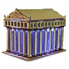 image of COLORED DRAWING DIY VENEER THE TEMPLE OF ZEUS WITH AUTOMATIC SOLAR LED LIGHT SENSATION ROMANTIC GIFT FOR VALENTINE'S DAY (GOLDEN) -