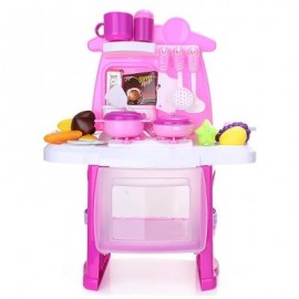 image of RANXIAN LUXURY SIMULATION KITCHEN COOKING TOOLS KIT FOR KIDS (PINK) -