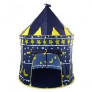 image of CHILDREN FOLDING PLAY HOUSE PORTABLE TOY TENT CASTLE PLAYHUT (DEEP BLUE) -