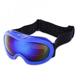 image of KID UV PROTECTION DOUBLE ANTI-FOG LENS SPHERICAL SKIING GLASSES SNOW GOGGLES (COLORMIX) BLUE PLATE WITH BLUE FRAME
