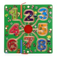 image of WOODEN NUMBER MAGNETIC PEN LABYRINTH PUZZLE TOY FOR KIDS (COLORMIX) One Size