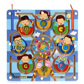 image of WOODEN FERRIS WHEEL MAGNETIC PEN LABYRINTH PUZZLE TOY (COLORMIX) One Size