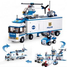 image of SLUBAN 2 IN1 CITY MOBILE POLICE STATION CAR TRUCK HELICOPTER BUILDING BLOCK BRICK TOY ( 572 PIECES ) (BLUEBELL) 0