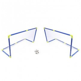 image of ANJANLE KIDS PORTABLE DOUBLE FOOTBALL GOAL NET SET SPORT TOY (BLUE AND YELLOW) -