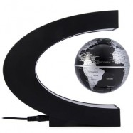 image of NOVELTY C SHAPE MAGNETIC LEVITATION FLOATING GLOBE TOY GIFT (BLACK) EU PLUG