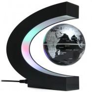 image of C SHAPE LEVITATION FLOATING GLOBE ROTATING MAGNETIC WORLD MAP COLORFUL LED LAMP DECORATION GIFT (BLACK) -