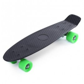 image of 22 INCH FOUR-WHEEL STREET LONG MINI FISH SKATEBOARD (BLACK, GREEN WHEEL) Green Wheel