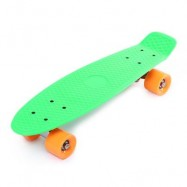 image of 22 INCH FOUR-WHEEL STREET LONG MINI FISH SKATEBOARD (GREEN, ORANGE WHEEL) Orange Wheel