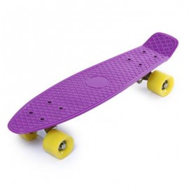 image of 22 INCH FOUR-WHEEL STREET LONG MINI FISH SKATEBOARD (PURPLE, YELLOW WHEEL) Yellow Wheel
