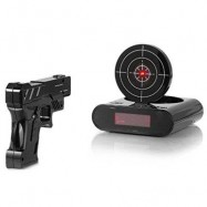 image of INFRARED SENSING GUN SHOT ALARM FOR LAZY GUY WITH SNOOZE / LCD DISPLAY (BLACK) -