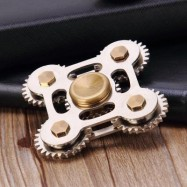 image of STRESS RELIEF TOY FINGERTIP GEARS FIDGET SPINNER (SILVER) -