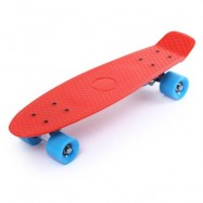 image of 22 INCH FOUR-WHEEL STREET LONG MINI FISH SKATEBOARD (RED, BLUE WHEEL) Blue Wheel
