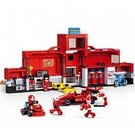 image of SLUBAN 2IN1 TECHNIC F1 FORMULA RACING CAR TRANSPORT TRUCK BUILDING BLOCK BRICK TOY ( 557 PIECE ) (RED) 0