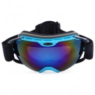 image of UV PROTECTION ANTI-FOG BIG SKIING GOGGLES MASK MEN WOMEN SNOWBOARDING GLASSES (BLUE) BLUE PLATE WITH BLUE FRAME