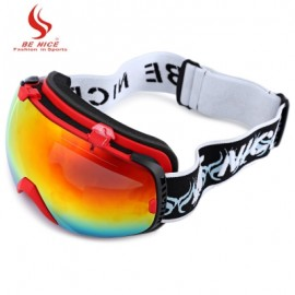 image of BE NICE 2084 UNISEX SPHERICAL ANTI-FOG DUAL LENS SNOWBOARD SKIING GOGGLE EYEWEAR (RED) -