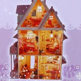image of QUYIYA LOVELY DIY HANDMADE ASSEMBLED VILLA 42CM HEIGHT HOUSE (PINK) 30 x 18 x 42cm