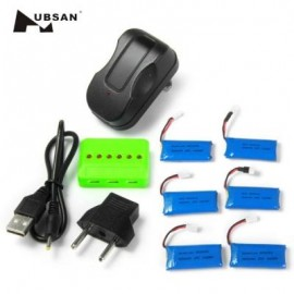 image of WSX - X6A 6PCS 500MAH 25C BATTERY WITH CHARGER FOR HUBSAN X4 H107 H107L H107C H107D V252 JXD385 (COLORMIX) -