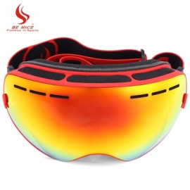 image of BENICE DOUBLE LENS UV400 ANTI-FOG BIG SPHERICAL SKIING GLASSES (RED) -