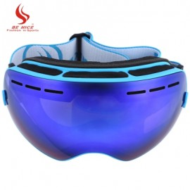 image of BENICE DOUBLE LENS UV400 ANTI-FOG BIG SPHERICAL SKIING GLASSES (BLUE) -