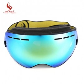 image of BENICE DOUBLE LENS UV400 ANTI-FOG BIG SPHERICAL SKIING GLASSES (BLUE AND YELLOW) -