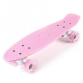 image of 22 INCHES MINI CRUISER BANANA STYLE LONGBOARD PASTEL COLOR FISH SKATEBOARD WITH LED FLASHING WHEELS (LIGHT PINK) 56.00 x 15.00 x 14.00 cm