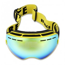 image of BENICE DOUBLE LENS UV400 ANTI-FOG BIG SPHERICAL SKIING GLASSES (YELLOW) -